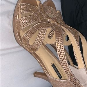 Gold sequined Alex Marie short heels